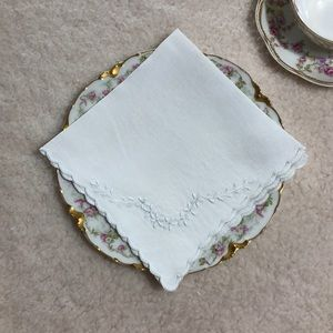 10 White Linen Antique Tea Napkins